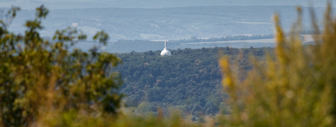 The Stupa of Zalaszántó from Tátika Castle
