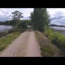 Cycling along Banvallsleden/Ulvåsen in Lake Åsnen