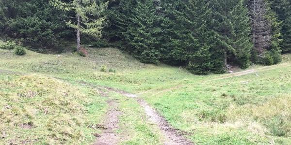 6.70 km - An der Weggabelung rechts abbiegen und in Richtung Kapelle gehen.