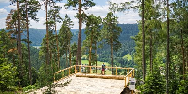 Die neu erbaute Aussichtsplattfom bietet einen fantastischen Blick ins Tal.