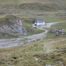 Ausblick auf die Heidelberger Hütte nach dem Fimberpass