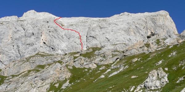 l tracciato della ferrata Sartor sulla parete sud-est
