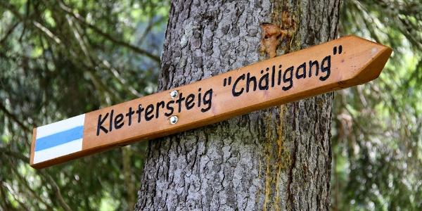 Einstieg zum Klettersteig Chäligang.