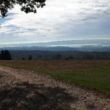 Aussicht vom Mühlsberg, schemenhaft ist der Säntis zu sehen