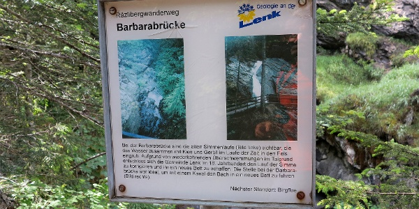 Infotafel bei der Barbarabrücke.