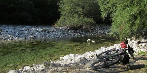 Nadiža River beneath the village of Podbela
