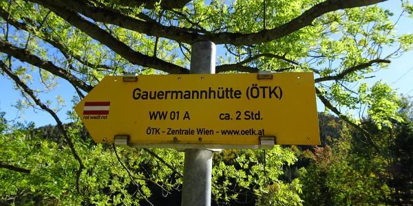 Wegweiser zur Gauermannhütte