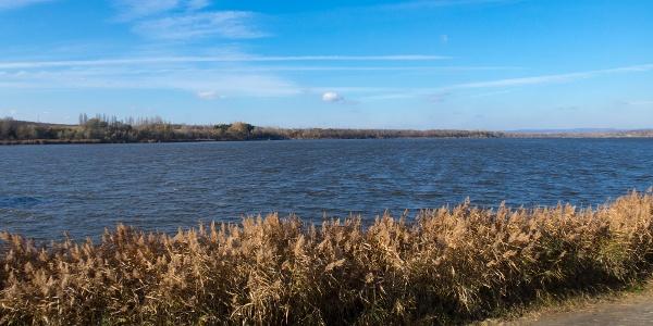A hullámzó Pátkai víztározó az erős szélben