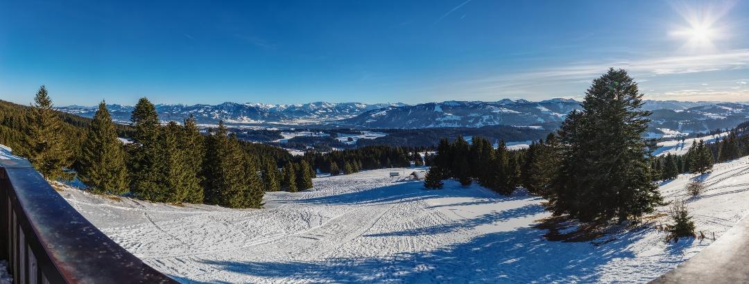 Blick vom Aussichtsturm Richtung Allgäuer Alpen
