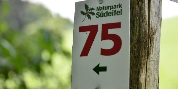 Markierung des Rundwanderwegs Nr. 75 des Naturpark Südeifel