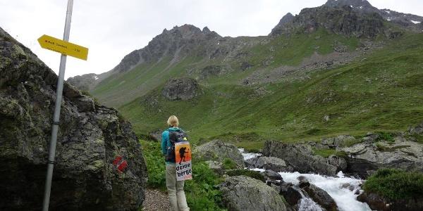 Wanderin am Weg von der Heidelberger Hütte zur Jamtalhütte in der Silvrettagruppe