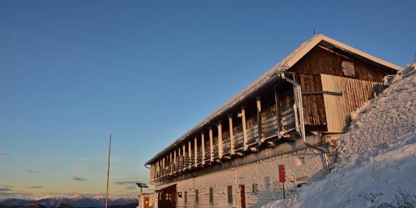 Frozen-over Mountain hut on Mt. Porezen