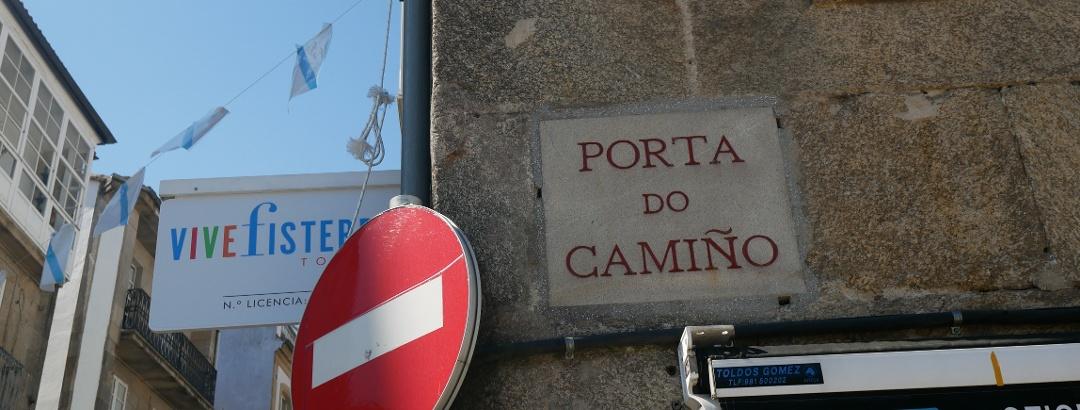 Hinweisschild der Porta do Camiño