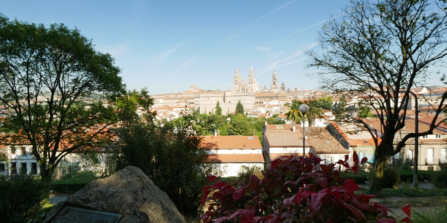 Beautiful view from Parque de la Alameda to the cathedral of Santiago de Compostela