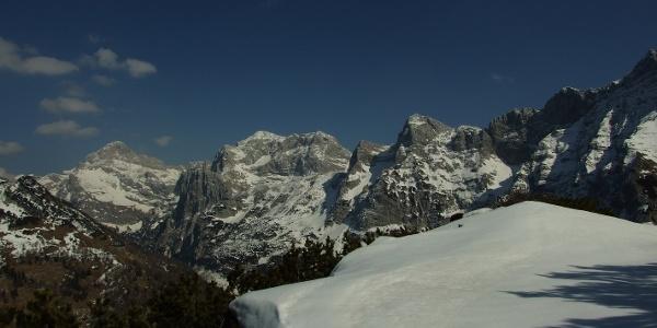 Mt. Čisti vrh with Mt. Triglav and Mt. Kanjavec in the background