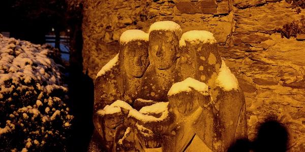 Rubensbrunnen in einer Winternacht