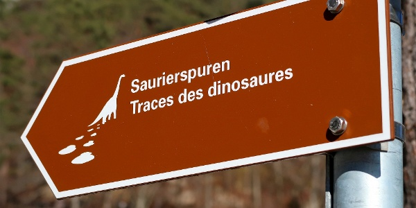 Wegweiser zu den Dinosaurierspuren.