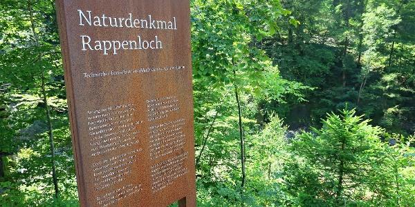 Infotafel Naturdenkmal Rappenlochschlucht.