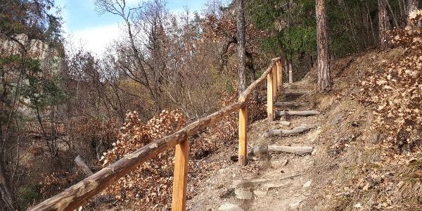 Der Steig vom Keschtnweg hinauf zur Aussichtsplattform, die wir auf diesem Bild links hinter den Bäumen schon erblicken können.