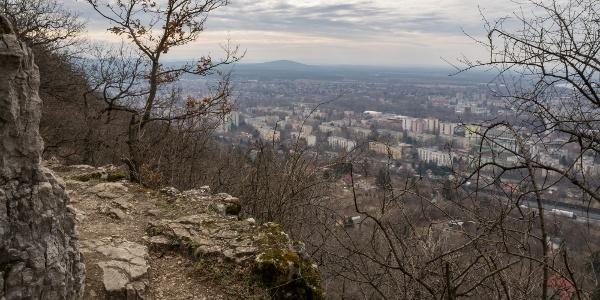 Kilátás a Szelim-barlanghoz vezető ösvényről Tatabányára
