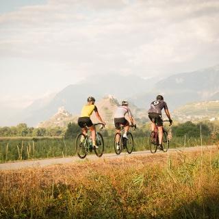 3 Radfahrer auf der Strasse mit den Burgen von Sion im Hintergrund