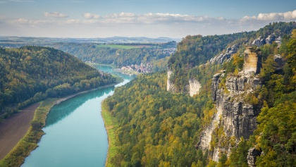 View of the Elbe from the Bastei Bridge