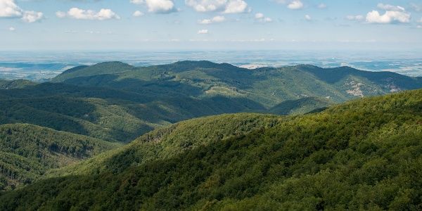 A Csarna-völgy, a Börzsöny központi területe a Csóványosról
