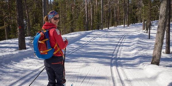A sunny day skiing on Rykimäkero Trail.