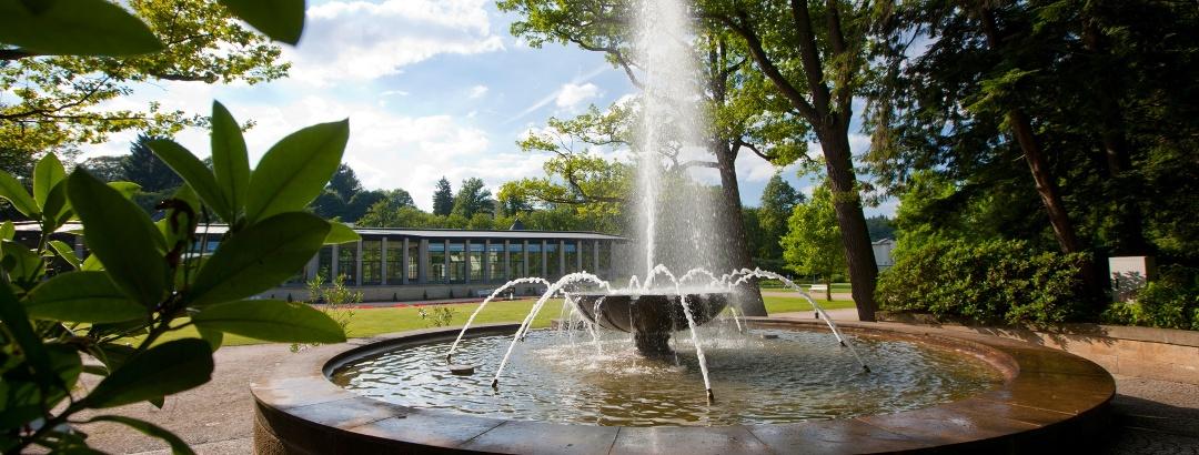 Hist. Kurpark Bad Elster mit Blick auf die KunstWandelhalle