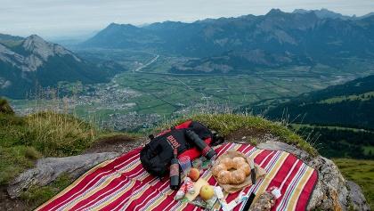 Picknick mit Aussichts ins Rheintal.