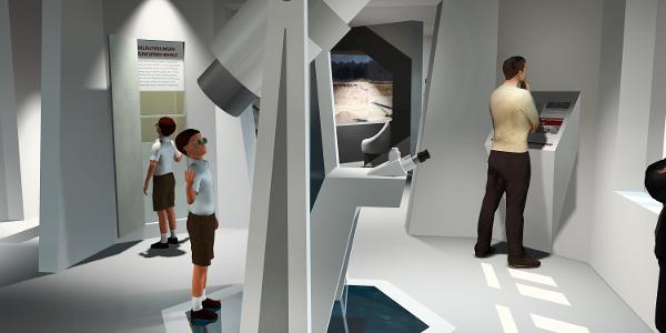 """Montage der künftigen Ausstellung """"Erlebniswelt Kaolin"""""""