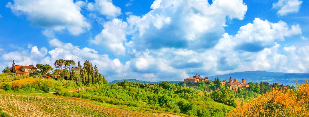 Following the pilgrimage route through the rolling Tuscan landscape