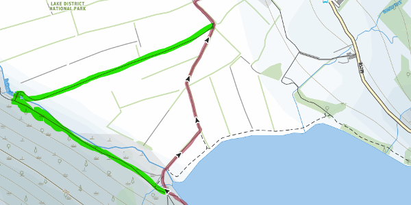 Green highlighted section shows the diverted route due to fallen bridge