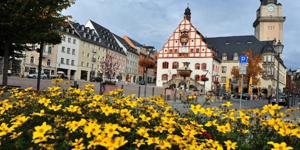 Plauener Altmarkt mit Rathaus