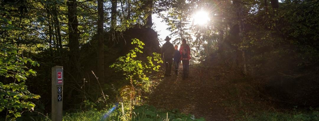 Ranger mit Familie im Wald