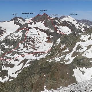Überschreitung Feuersteine-Schneespitze - Aufnahme von Weisswandspitze