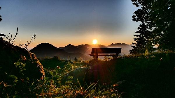 Aussicht vom Bankerl bei Sonnenaufgang