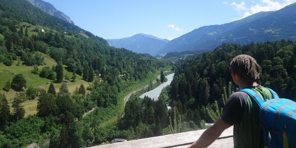 Aussicht auf den Vorderrhein Richtung Reichenau