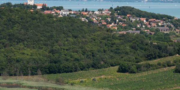 Az Őrtorony-kilátóból Tihany és a Balaton felé
