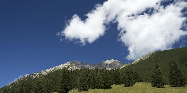 Von der Tuftlalm zeigen sich erstmals die beiden Gipfel Ups und Daniel.
