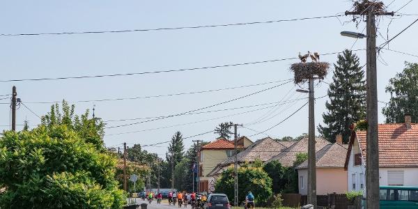 Kerékpáros túrázók a Vajai-őstó és a Vay Ádám múzeum közötti úton