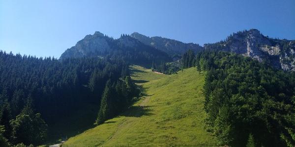 Blick von der Rohrkopfhütte zum Tegelberg