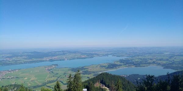 Blick auf den Forggensee und Bannwaldsee auf dem Weg zum Tegelberg