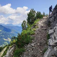 Seilgesicherte Passage auf dem Weg zur Bergstation/Grubighütte