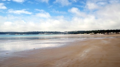 The wide sandy bay at St Aubin