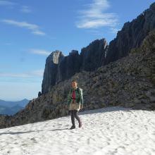 Auf dem Weg zum Einstieg Schneefeld und Predigtstuhl-Nordgipfel