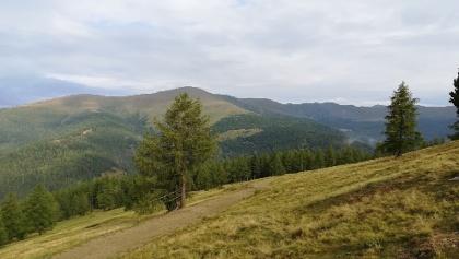 von der Hiaslalm ein Blick nach Norden zum Kleinen und Großen Speikkofel, zur Bretthöhe, Lattersteighöhe und zum Wintertalernock (ganz hinten)