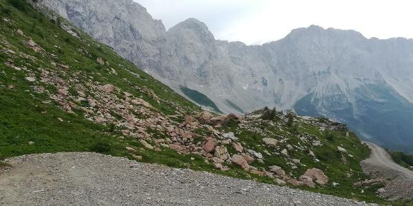 entlang des Karnischen Höhenweges 403 zur oberen Wolayeralm mit Blick nach Westen zum Biegengebirge mit Teilen des Wolayerkopfes und der Biegenköpfe - 1