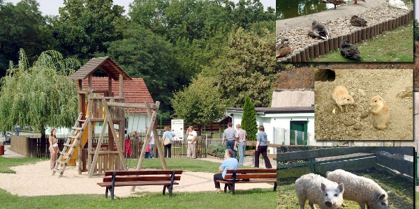 Fotomontage; Spielplatz im Kleintierzoo Strehla mit Tierabbildungen