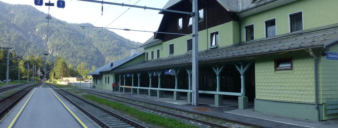 Beginn der Tour aber natürlich am Bahnhof in Scharnitz (Österreich)